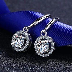 Pt950 platinum moissanite diamond dangle Earrings